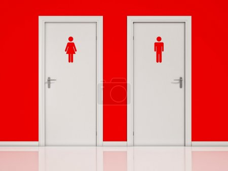 Female and Male, Toilet Doors - White Doors on Red Wall