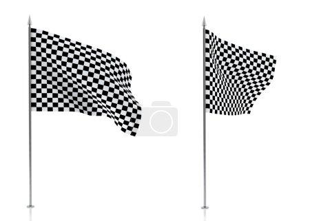 клетчатые флаги, изолированные на белом фоне