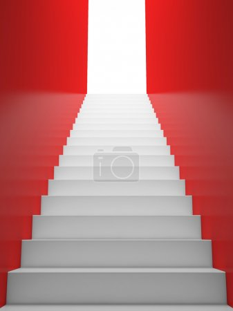 White Staircase to the EXIT, Red Walls