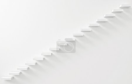 Stairs Rendered on the White Wall