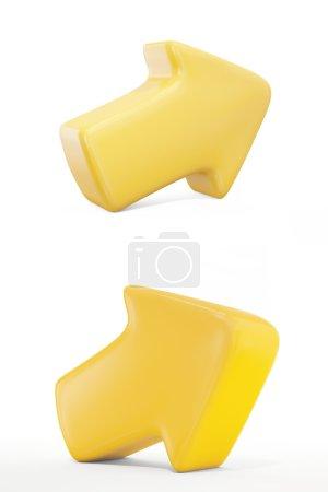 Gelber Pfeil mit Reflexion isoliert auf weißem Hintergrund
