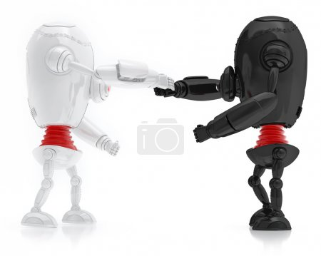 White and Black Robots Friendship, Isolated On White background