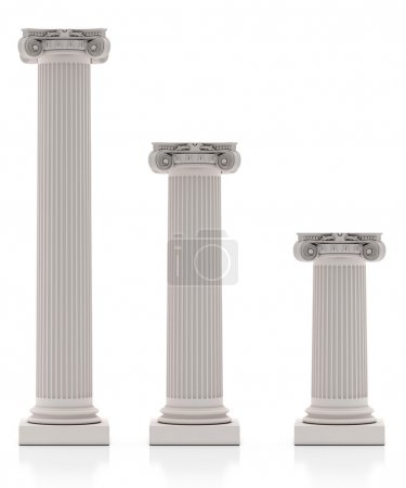 Greek Pillars three Size, Isolated on White Background
