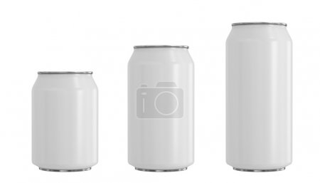 Can Collection on White Background, three size