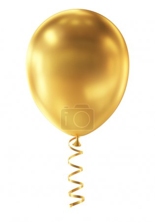 Golden Balloon isolated on White Background