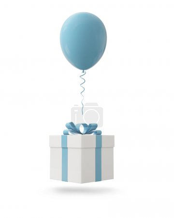 Blue balloon with gift box on white background