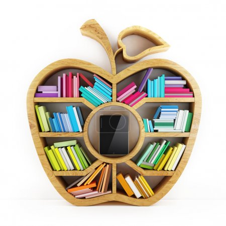 Apple of Knowledge, Wooden Shelf with Multicolor Books Isolated on White Background Tablet inside Shelf