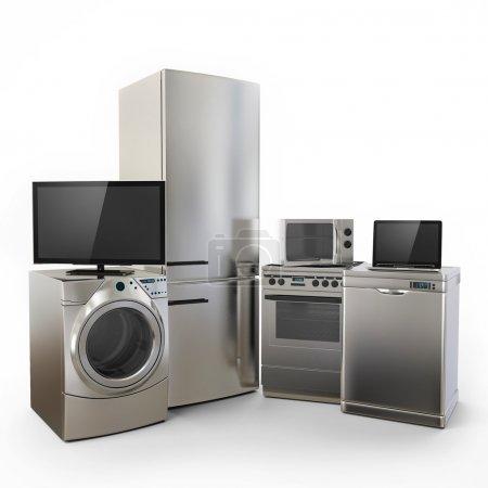 Photo pour Électronique Gadget frigo micro-ondes machine à laver électrique portable tv sur fond blanc - image libre de droit