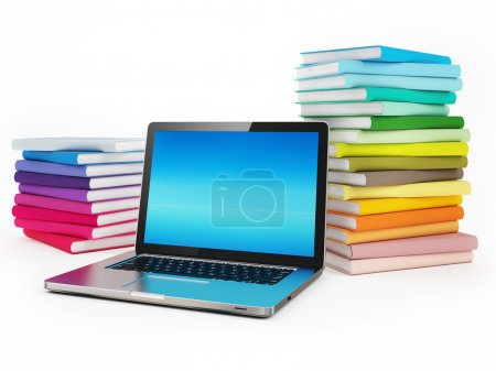 Laptop and Stock of Books