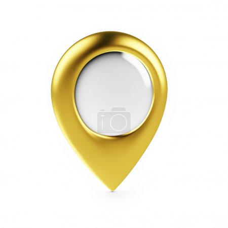 Golden Map Pointer Isolated on White Background, Render