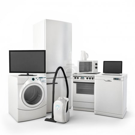Photo for Consumer Electronics Tv Fridge vacuum cleaner Microwave Washer and Electric Cooker - Royalty Free Image