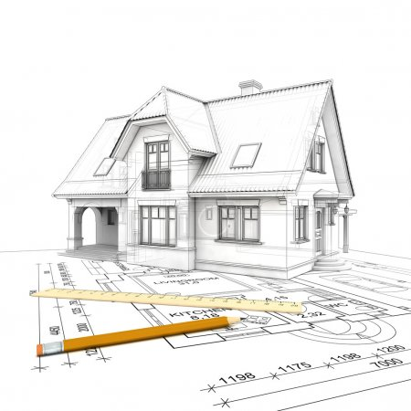 A stylized house model with floor plan, ruler and pencil