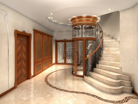 Photo for Rendering of an art nouveau entrance hall - Royalty Free Image