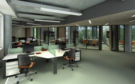 Photo pour Rendu d'un intérieur de bureau moderne - image libre de droit