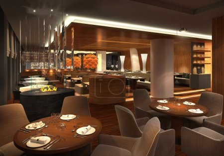 Rendering of a dimly lit restaurant interior