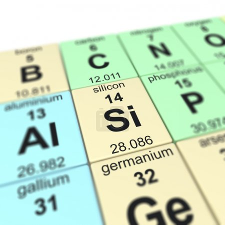 Photo for Periodic table of elements, focused on silicon - Royalty Free Image