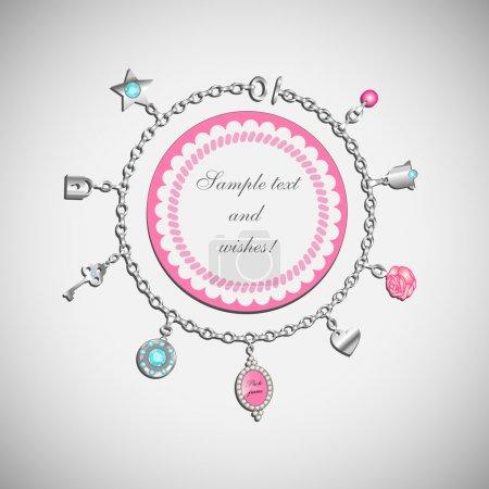 Vector doodle with charm bracelet