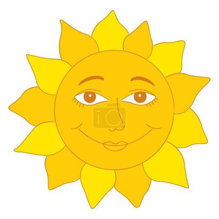 Photo pour Illustration souriante du personnage de bande dessinée Sun - image libre de droit