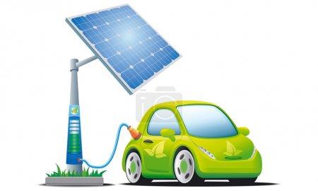 Illustration pour Voiture électrique près de la station solaire de charge - image libre de droit