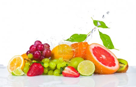 Photo for Fresh fruits falling in water splash, isolated on white background - Royalty Free Image