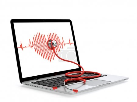 Photo for Laptop and stethoscope with heart rate on screen isolated on white. Computer service concept. - Royalty Free Image