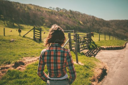 Young woman on a ranch