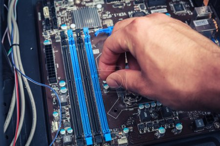 Hand fixing computer components