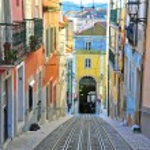 Lisbon funicular Bica in Bairro Alto district...