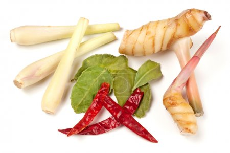Photo for Variety of Thai cooking ingredients:  lemongrass, galangal, kaffir leaves and chili - Royalty Free Image
