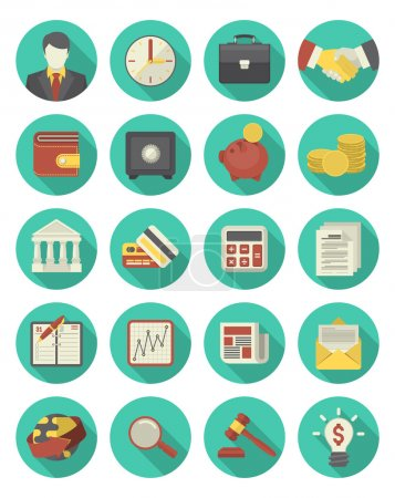 Financial and Business Icons Turquoise Set