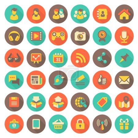 Illustration pour Ensemble de 36 plat rond icônes web social gestion de réseau et multimédia en couleurs rétro avec longues ombres - image libre de droit