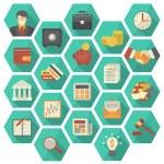 Set of 20 modern flat stylized hexagonal icons sui...