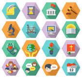Modern Flat Education Icons in Hexagons
