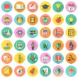 Set of modern flat round icons of school subjects ...