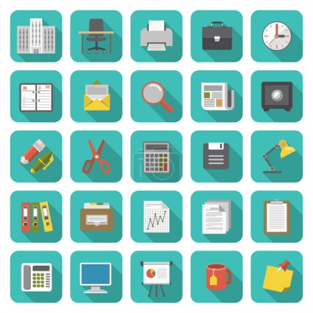 Illustration for Set of modern flat office icons with long shadows - Royalty Free Image