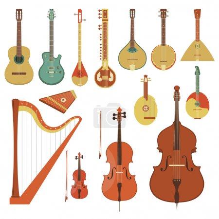 Illustration pour Ensemble de divers instruments de musique à cordes dans le style plat - image libre de droit