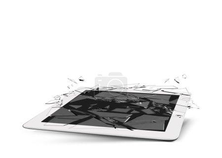 Photo pour Tablette écran d'accident en verre cassé dispositif détruit - image libre de droit