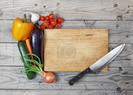 Photo for Close up board cooking wood more vegetable ingredient - Royalty Free Image
