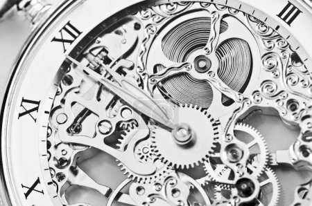 Photo for Black and white close view of watch mechanism - Royalty Free Image