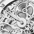 Black and white close view of watch mechanism...
