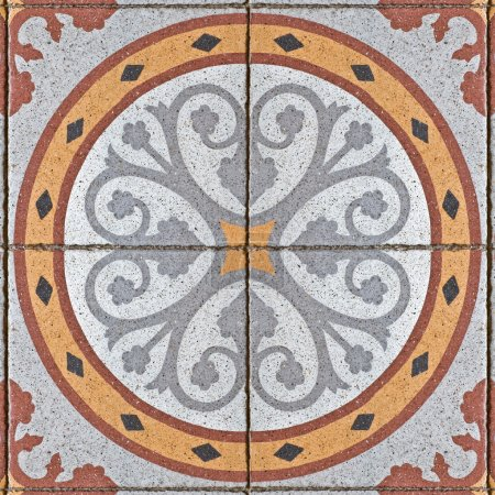 Pattern on ancient square tiles