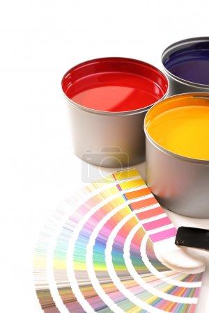 Druckmaschinenfarben, Cyan, Magenta, Gelb