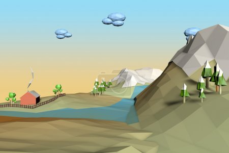 Photo for Landscape Low Poly background - Royalty Free Image