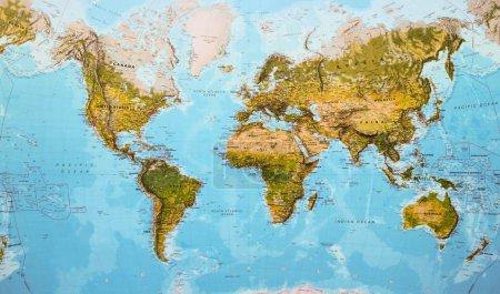 Photo pour Monde de la carte physique - image libre de droit