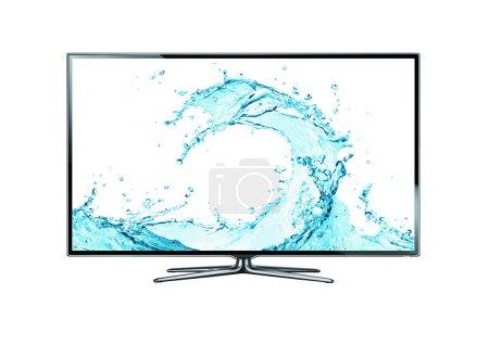 Photo pour TV isolée sur fond blanc. Cadre d'approvisionnement TV avec eau . - image libre de droit