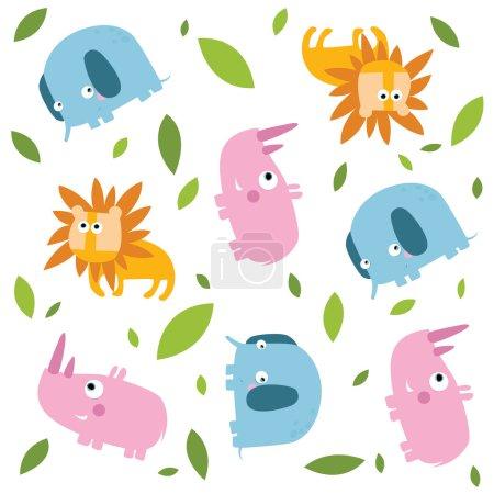 Illustration pour Fond vectoriel. Des animaux. Lion, éléphant, rhinocéros . - image libre de droit