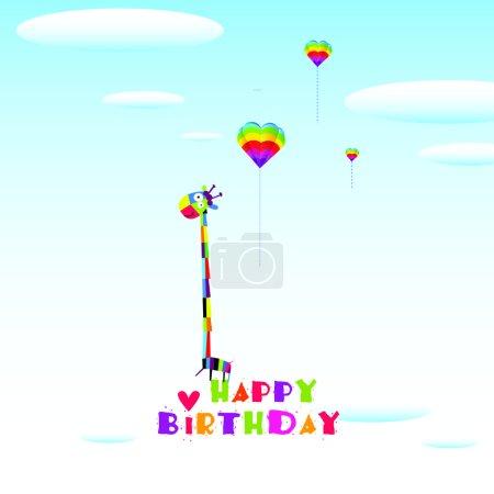Illustration for Vector illustration with giraffe. Happy birthday - Royalty Free Image