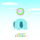 Vector illustration of an elephant Happy birthday Can be used as a postcard