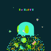 Vector illustration of an elephant Be happy Can be used as a postcard