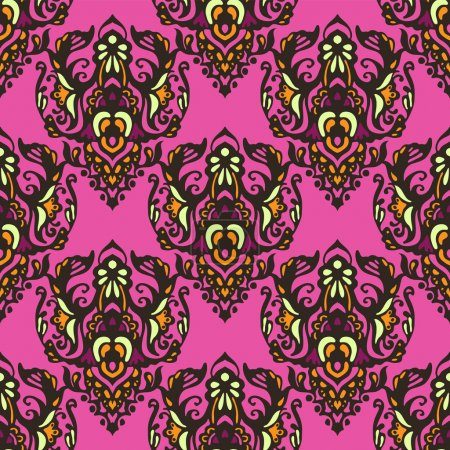 Damask seamless vector colorful pattern